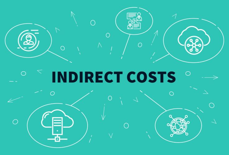 Conceptual business illustration with the words indirect costs