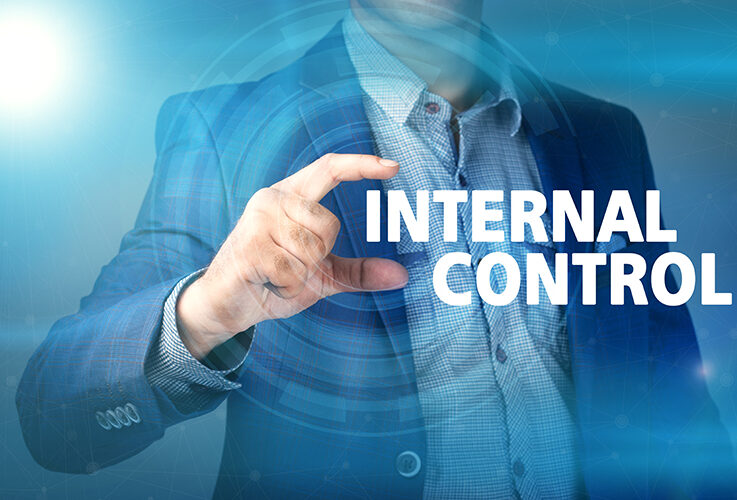 Businessman presses button internal control on virtual screens. Business, technology, internet and networking concept.